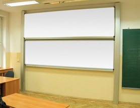 Tablica akademicka zależna biała suchościeralna, magnetyczna, ceramiczna P3 120x360 cm