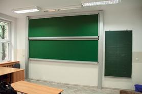Tablica akademicka zależna zielona do kredy, magnetyczna, ceramiczna P3 120x400 cm