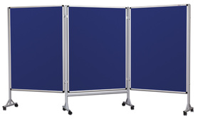 Mobilny tryptyk parawanowy-tekstylny (niebieski-unijny) 120x180 cm (3 ścianki)