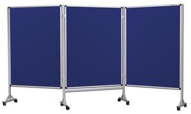 Mobilny tryptyk parawanowy-tekstylny (niebieski-unijny) 120x160 cm (3 ścianki)